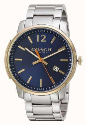 Coach Mens Bleecker schlankes blaues Zifferblatt 14602342