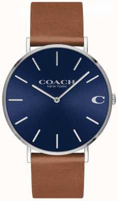 Coach Charles Herren braunes Lederarmband blaues Zifferblatt 14602151