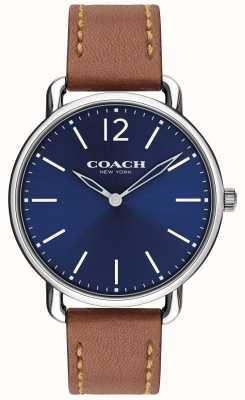 Coach Mens delancey schlanke Uhr blaues Zifferblatt braunes Lederarmband 14602345