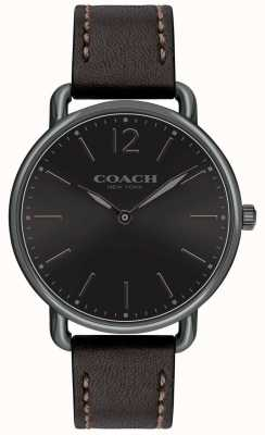 Coach Mens delancey schlanke Uhr schwarzes Zifferblatt Blackleather Strap 14602346