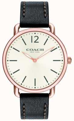 Coach Mens delancey schlanke Uhr weißes Zifferblatt schwarzes Lederarmband 14602347