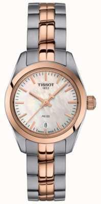 Tissot Damen pr100 zweifarbige Armband Perlmutt Zifferblatt Uhr T1010102211101