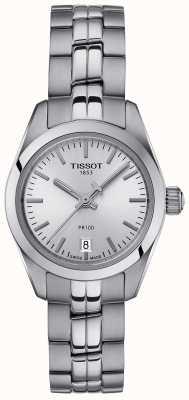 Tissot Damen Pr100 Edelstahl Armband Silber Zifferblatt Uhr T1010101103100