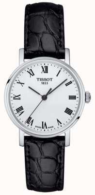 Tissot Damen klassisches jedes Mal schwarzes Lederarmband weißes Zifferblatt T1092101603300