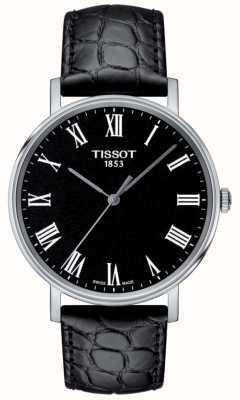 Tissot Mens jederzeit schwarz geprägtes Lederarmband schwarzes Zifferblatt T1094101605300