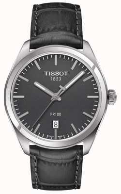 Tissot Graues Zifferblatt mit grauem Lederarmband pr100 für Herren T1014101644100