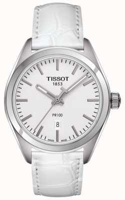 Tissot Womens pr100 weißes Lederarmband silbernes Zifferblatt T1012101603100