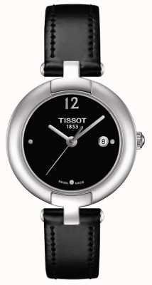 Tissot Womens pinky schwarzes Lederarmband aus Edelstahl T0842101605700