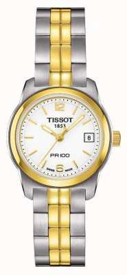 Tissot Womens pr100 zweifarbig Edelstahl weißes Zifferblatt vergoldet T0492102201700