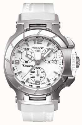 Tissot Mens T-Rennen Chronograph weißes Kautschukband weißes Zifferblatt T0482171701700