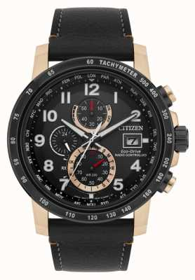 Citizen Eco-Drive Herren Lederband vergoldet funkgesteuert AT8126-02E
