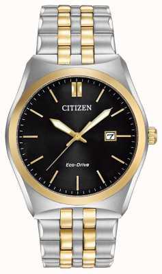 Citizen Herren Corso Eco-Drive Edelstahl & Gold IP schwarz Zifferblatt Uhr BM7334-58E