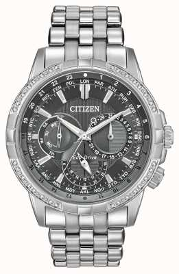Citizen Herren Calendrier Diamanten graues Zifferblatt Uhr BU2080-51H