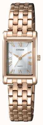 Citizen Damen Quarz vergoldet rechteckiges Gehäuse Silber Zifferblatt EJ6123-56A