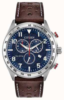Citizen Herren Eco-Drive blaues Zifferblatt braunes Leder Chrono 100m AT2418-00L