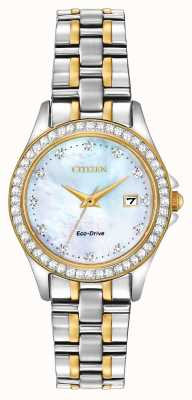 Citizen Womens Eco-Drive zweifarbigen Kristall Set Fall EW1844-50Y