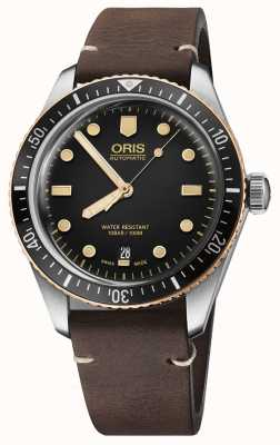 Oris Divers fünfundsechzig braunes Lederband 01 733 7707 4354-07 5 20 55