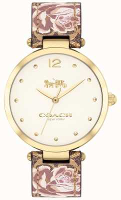 Coach Frauen Park Uhr floral Lederarmband Goldton 14503178
