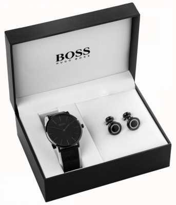 Hugo Boss Mens schwarz ionenplattiert Uhr und Manschettenknopf Set 1570067
