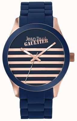Jean Paul Gaultier Enfants terribles Unisex blaue und roségoldene Gummiuhr JP8501127