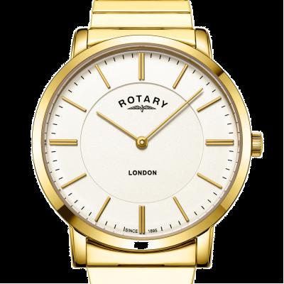 Rotary Herren London Gold Edelstahl expandierende Armbanduhr GB02766/03