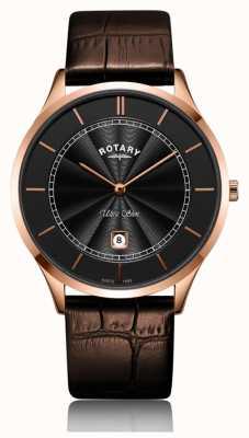 Rotary Ultradünnes rosafarbenes braunes Lederarmband GS08404/04