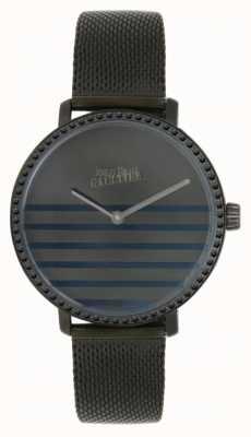 Jean Paul Gaultier Marineblaue Gunmental Mesh-Armbanduhr für Damen 8505602