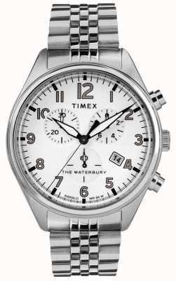 Timex Traditionelles weißes Chrono-Stahlarmband für Herren TW2R88500