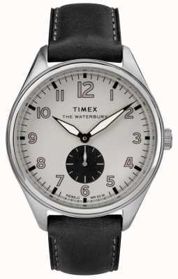 Timex Traditionelles schwarzes Unterziffer-Schwarzes Leder der Männer Waterbury TW2R88900