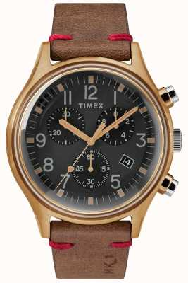 Timex Mens mk1 sst Chrono 42mm Bronze Gehäuse schwarzes Zifferblatt braunes Band TW2R96300