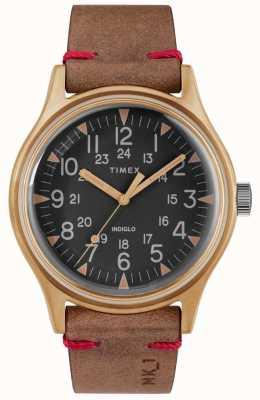 Timex Mens mk1 sst chrono 40mm Bronze Gehäuse schwarzes Zifferblatt braunes Band TW2R96700