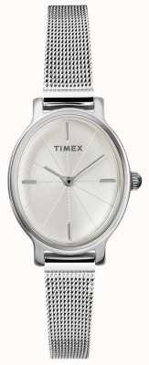 Timex Ladies Milano Oval Silber Mesh Uhr TW2R94200D7PF