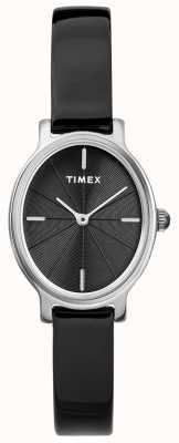 Timex Damen Milano Oval Silber Mesh Uhr schwarzes Zifferblatt TW2R94500D7PF