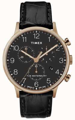 Timex Waterbury Classic Herrenuhr aus Roségold mit schwarzem Armband TW2R72000D7PF