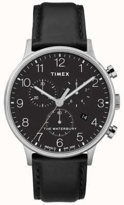 Timex Waterbury Classic Chronograph Herrenuhr mit schwarzem Armband TW2R96100D7PF
