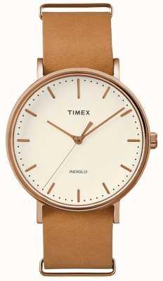 Timex Fairfield braune Armbanduhr mit 3 Zeigern TWF3C8160UK