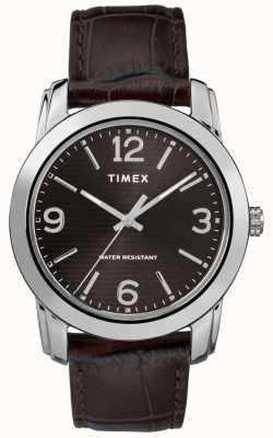 Timex Braunes Krokodilarmband für Herren aus schwarzem Leder TW2R86700