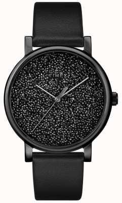 Timex Schwarze Damenuhr aus Leder mit Swarovski-Kristallen TW2R95100D7PF
