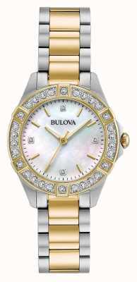 Bulova Damenuhr mit zweifarbigen Diamanten 98R236