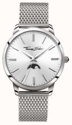 Thomas Sabo Mens Rebell im Herzen Spirit Mondphase Uhr Silber Mesh WA0324-201-201-42