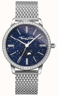 Thomas Sabo Womens Glam und Soul Mondphase Uhr Silber Mesh Armband WA0326-201-209-33