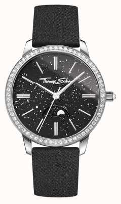 Thomas Sabo Damen Glam und Soul Mondphase Uhr schwarzes Lederarmband WA0327-209-203-33