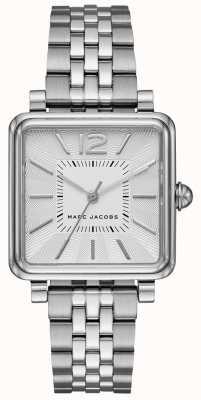 Marc Jacobs Damenuhr aus silberfarbenem Armband mit quadratischem Zifferblatt MJ3461