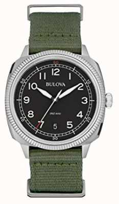 Bulova Mens Military Watch schwarzes Zifferblatt grün Leinwandband 96B299