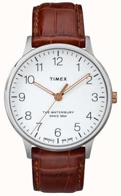 Timex Mens the waterbury klassisches weißes Zifferblatt mit roségoldenen Zeigern TW2R95900