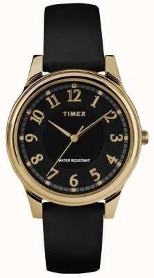 Timex Klassische schwarze Lederarmbanduhr mit schwarzem Zifferblatt TW2R87100