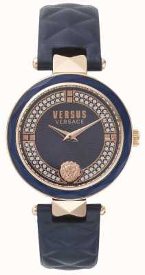 Versus Versace Covent Garden Damen blau Lederband blau Stein gesetzt Zifferblatt SPCD280017