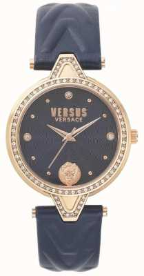 Versus Versace Womens V versus Stein Set blaues Zifferblatt blau Lederband SPCI340017