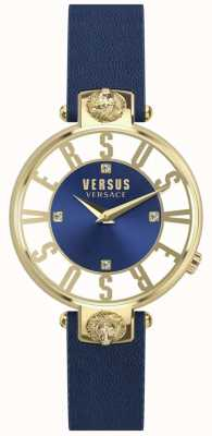 Versus Versace Womens Kristenhof blaues Zifferblatt blaues Lederarmband SP49020018