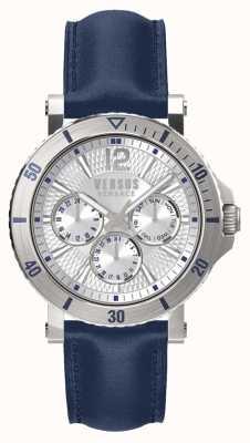Versus Versace Mens steenberg silbernes Zifferblatt blaues Lederarmband SP52010018